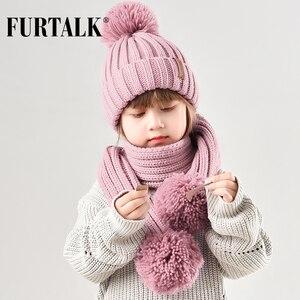 Image 2 - FURTALK gorro de invierno para niños, gorro de piel de mapache Real, y bufanda Gorro con pompón, sombreros de piel para niñas, gorros para niños, bufandas HTWL029