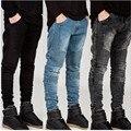 Moomphya Мужские Узкие джинсы мужчины Впп Проблемные тонкий эластичные джинсы denim Байкер джинсы hip hop брюки Промывают Плиссированные джинсы синий