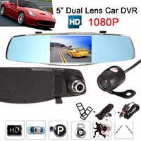 1080P Car DVR Dual Lens Mirror Recorder 5Inch Digital Video Resgistrator With Rear View Camera Built