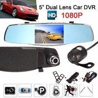 1080P Car DVR Dual Lens Mirror Recorder 5Inch Digital Video Resgistrator With Rear View Camera Built