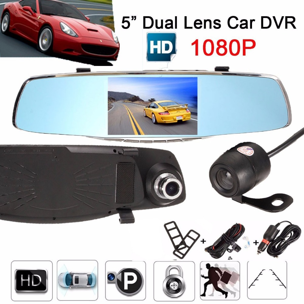1080P HD 5 inch Car DVR Video Night Vision Rearview Mirror 170 Degree Wide Lens Dash Cam Camera Driving Recorder G-sensor findfine 1 5 inch screen ltps tft lcd 4x digital car driving camera video recorder dvr night g sensor sos m867
