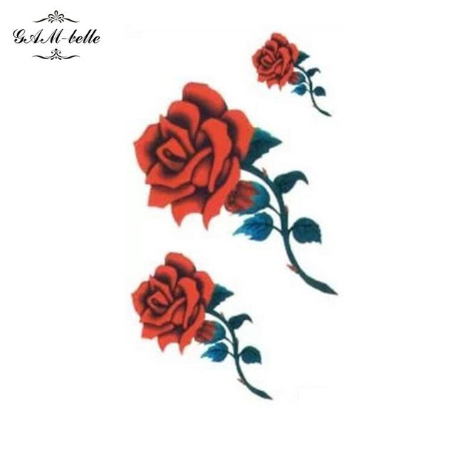Small Picture Fire Red Rose Flower Tattoo Stickers Leg Ankle Body