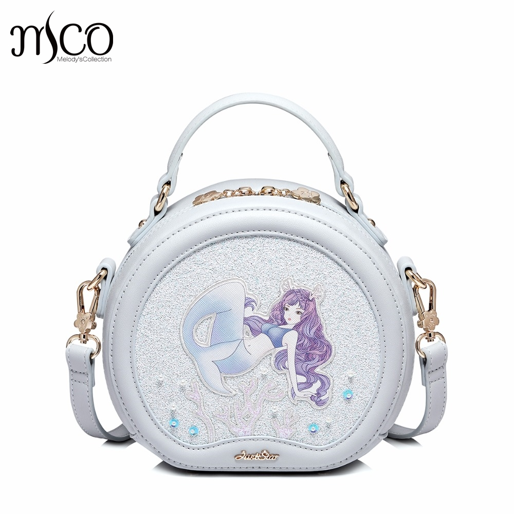2017 Luxury Emboridery Mermaid Circular Messenger Bag Handcraft Sequined Tote Handbag For Prom Ladies Crossbody Bags Girl Gift women handbag shoulder bag messenger bag casual colorful canvas crossbody bags for girl student waterproof nylon laptop tote