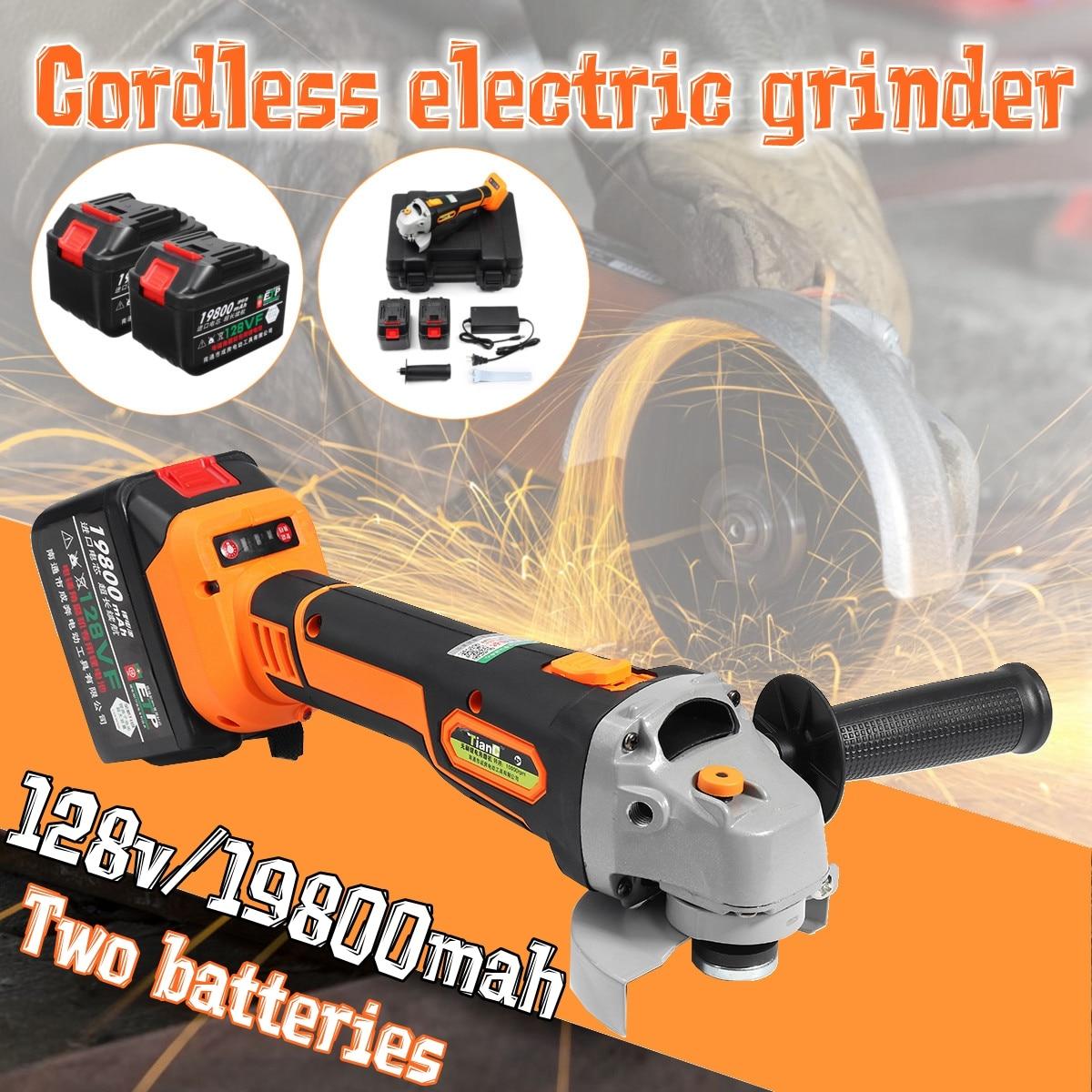 купить 128Vf 19800mAh Electric Angle Grinder Cordless Polisher Polishing Machine Cutting Tool Brushless motor Grinding +1/2 Battery недорого