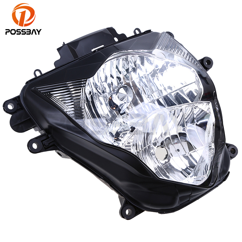 POSSBAY Motorcycle Front Lights Headlight Lens Housing Cover Motocicleta Cafe Racer Lighting For Suzuki GSXR 600/750 2011-2015 motorcycle parts front brake pads kit for suzuki gsx1300 2013 2015 rgsxr 600 gsxr 750 l1 2011 copper based sintered