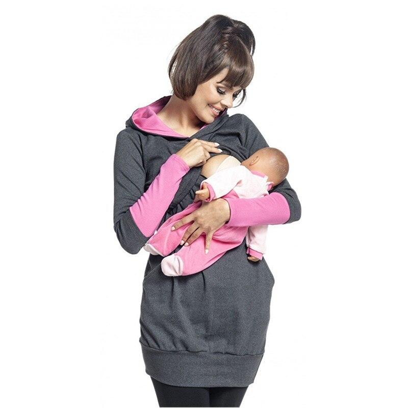 Pull d'allaitement multifonction   Pull-over d'automne, hiver, longue, en coton, pour femme, à capuche, vêtements de maternité, B0066