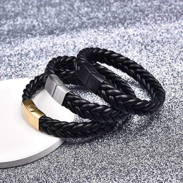 Jiayiqi אופנה קלוע עור צמידי זהב נירוסטה אבזם צמידי צמידים שחור/חום חבל שרשרת פאנק צמיד
