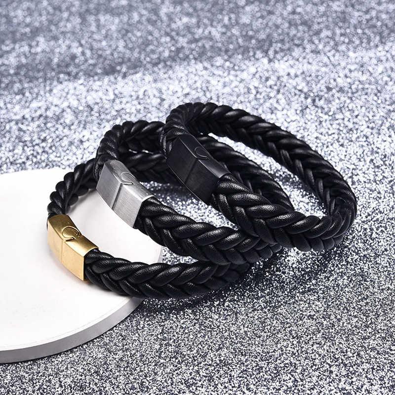 OBSEDE Подвеска из нержавеющей стали кожаный браслет с застежкой повседневные плетеные браслеты рок-браслет подарок черный/коричневый веревка