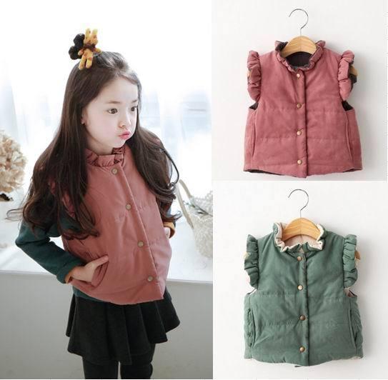 2016 outono inverno novo colete menina manga flare grosso colete reversível casaco fashion roupas crianças w039