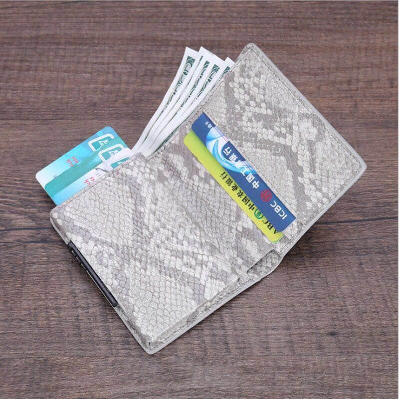 Weduoduo Anti-Rfid Protection Men Women Credit Card Holder Pu Leather Fashion Slim Mini Wallet Aluminum Business id Card Case