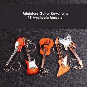 Drewniany miniaturowy brelok do gitary z 15 różnymi modelami, gitara z podwójnymi szyjkami