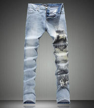 Новый Новинка Belle Распечатать Мужчины Джинсовые Длинные Брюки Мода Slim Джинсы