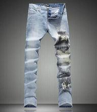 New  Novelty Belle Print Men Denim Long Trousers Fashion Slim Jeans