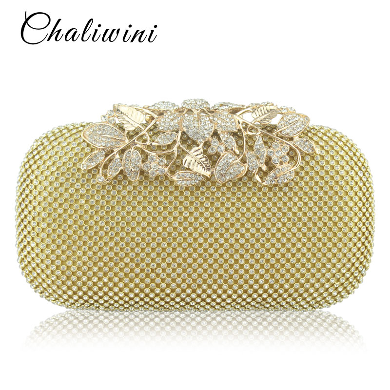 Chaliwini Flower Crystal Evening Clutches Bags Wedding Purse Rhinestones Wedding Handbag Silver Gold Black Evening Bag