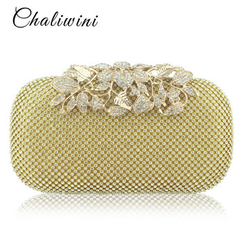 Chaliwini Flower Crystal Evening Clutches Bags Wedding Purse Rhinestones Handbag Silver Gold Black Bag - discount item  52% OFF Women's Handbags