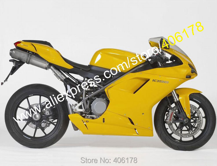 Hot Sales,Body Kit For Ducati 848 1098 1098S 1198 07-11 2007 2008 2009 2010 2011 Yellow Motorcycle Fairing (Injection molding)