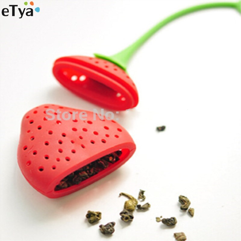 hot  kettle Leaf Strainer lovely Silicone Strawberry bag ball sticks Loose Herbal Spice Infuser Filter Tea cooking Tools teapot