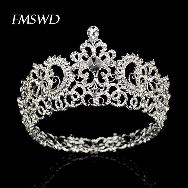 新ヴィンテージシルバー色ラウンド大クラウンティアラ結婚式のヘアアクセサリーヘッドビッグクラウンかぶと髪の宝石の装飾品