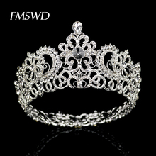 New Vintage Silver Color Round Large Crown tiara For Wedding Hair Accessories Head Big Crown Headpiece Hair Jewelry ornaments