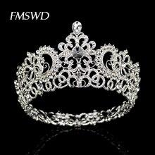 Tiara de corona grande redonda de Color plateado Vintage para accesorios para el cabello de boda, tocado de corona grande, adornos de joyería para el cabello