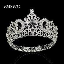 ใหม่ Vintage เงินรอบขนาดใหญ่ Crown tiara สำหรับงานแต่งงานอุปกรณ์เสริมผมหัว Big Crown Headpiece เครื่องประดับผมเครื่องประดับ