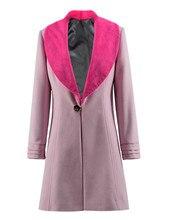 Queenie Goldstein Cosplay Costume Women Winter Woolen Jacket one Button Pink Coat
