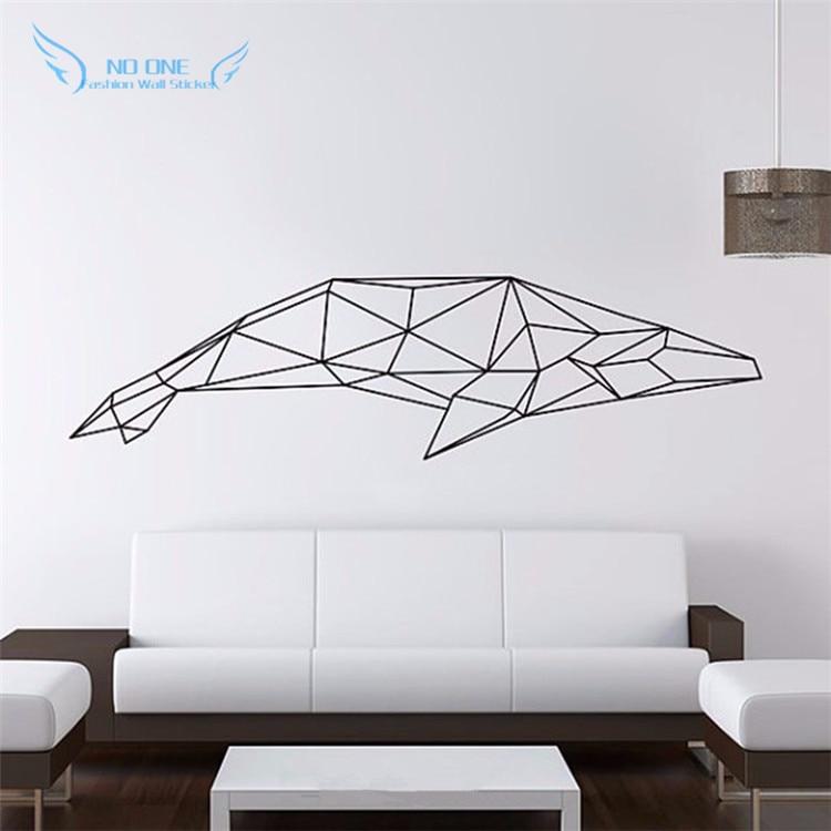 Geometric Home Decor: Geometric Animals Shark Vinyl Wall Decal Modern Style