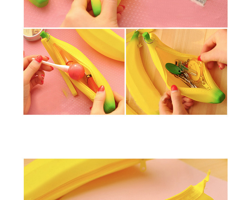 Cute Coin Purse Banana Pencil Case Kawaii Bag Silicone Purse Children's Purses For Kids Yellow Ulrica Coin Bags For Women Funny (3)