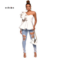 Echoine Women Denim Pants Fashion Hole Hollow Out Perfect Mid Waist Slim Fit Stretchy Skinny Jeans Street Trousers Female Outfit