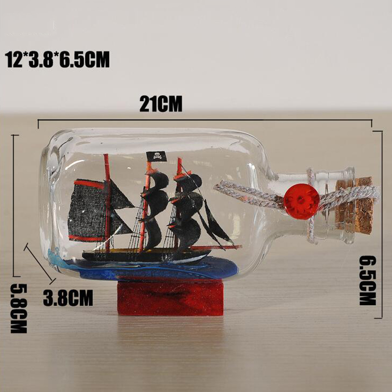Home Decor Mediterranean Style Mini Ship Boat Drift Bottle Charm Glass Bottle Small Wood Cork Glass Vial Valentine's Day Gift