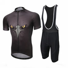 XINTOWN Men Cycling Bike Bicycle Jersey Short Sleeve Clothing Set Bib Shorts Suit Eagle Black S
