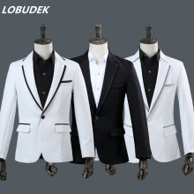(jacket+pants) men's suit white black blazer 2 pieces set wedding groom studio costumes male singer host performance stage wear