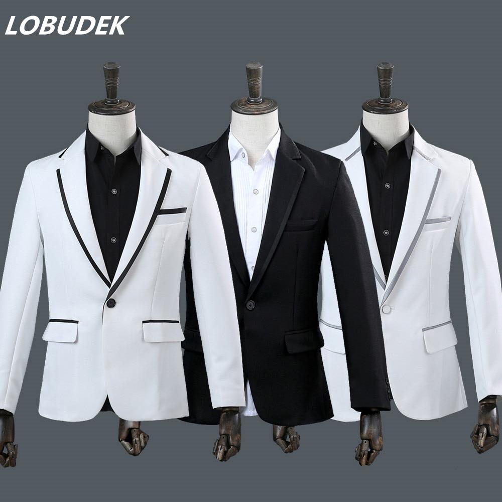 jacket pants men s suit white black blazer 2 pieces set wedding groom studio costumes