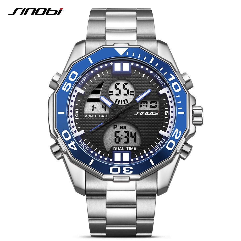 SINOBI Men Watches Military-Clock Digital Dual-Display Steel Top-Brand Fashion Relogio