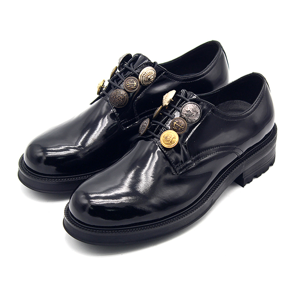 New formal shoes men round scalp shoes big button decoration handmade mens dress shoes England thick derby men's shoes цена 2017