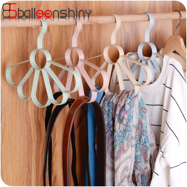 Balleenshiny Multifunction Wardrobe Clothes Storage Rack Hook Belt Holder Tie Hanger Organizer Closet Clothing Hanging Shelf