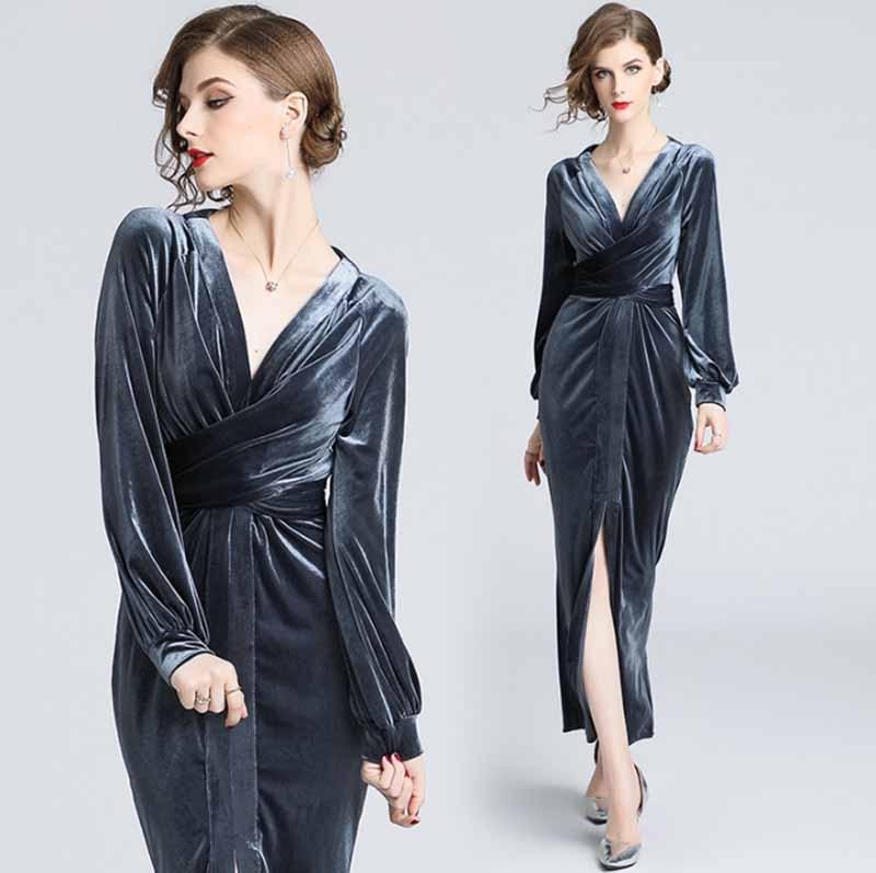 Nouvelle mode Nova femmes gris velours à manches longues Split Wrap robes grande taille robes de soirée de luxe robes de soirée pour femmes