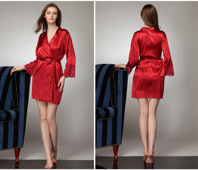 Camisa de Dormir atractiva de Las Mujeres de Lujo de Encaje V Profundo Invierno Faux Satén De Seda Pijamas Batas Pijamas Camisones Para la Venta Caliente Floral