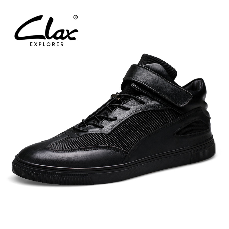 CLAX Men Boots Genuine Leather 2018 Autumn Shoe for Male Designer Short Ankle Boot Fashion Black Motorcycle Boot Casual Footwear clax men ankle boots 2017 autumn casual shoes for male leather work shoe safety british style oxford fashion footwear