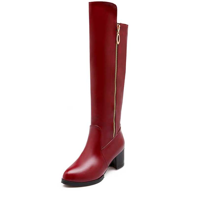 ФОТО Big Size 34-43 Winter Platform Shoes Hot New Fashion Women's Knee High Boots Vintage Style Side Zipper Chunky Med Square Heels