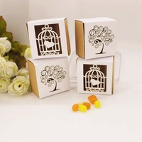 50pcs 100pcs Kraft Paper Laser Engraving Rustic Wedding Candy Box Christmas Gift Box Laser Cut Bird