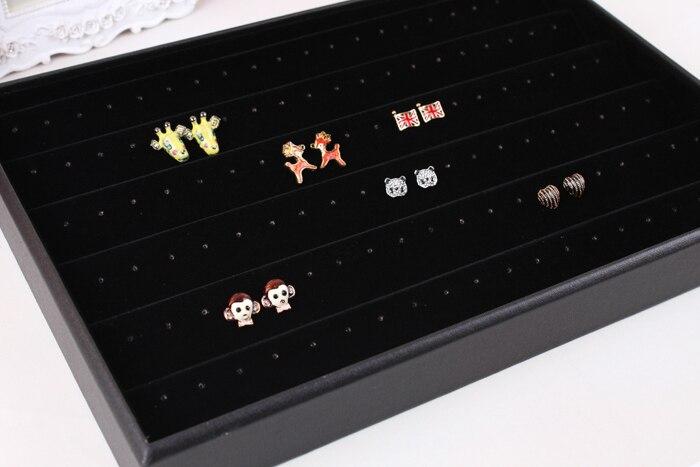 Black Velvet Leather Earrings Frame Wheel Stud Earring Jewelry Holder Display Rack Storage Box Accessories A117 In Packaging