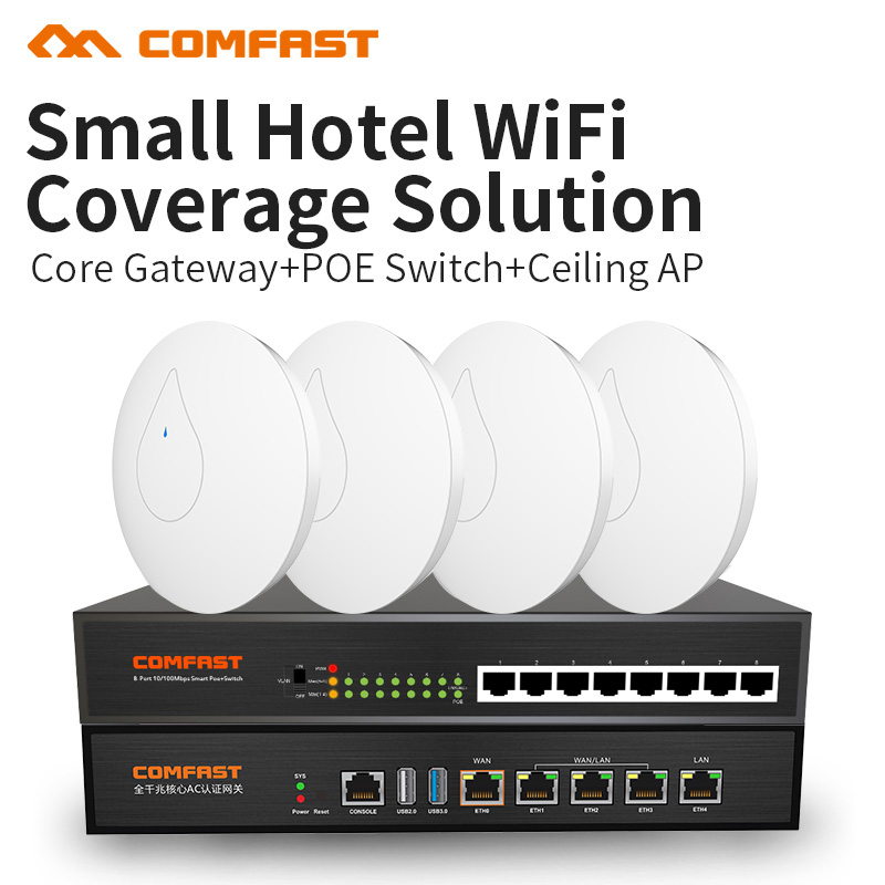 COMFAST Hôtel wifi couverture solution costume 300 Mbps Sans Fil wifi routeur 2.4G wifi point d'accès 48 V soutien openWRT ddwrt