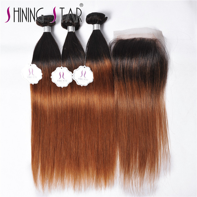 Straight Brazilian hair with closure 3 blonde bundles with closure Brazilian straight virgin hair with closure ombre