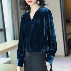 100% blusa de seda pura auténtica para mujer, ropa para mujer 2019, elegante, Sexy, para Primavera, blusas para mujer, Tops, camisas de oficina para mujer ZT2252