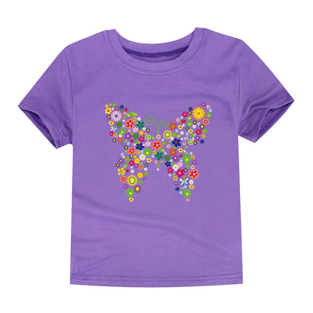 2018 verano a estrenar camisetas para niñas, camisetas para niños con flores de mariposa, camisetas de verano para niños, camisetas florales para niñas, camisetas para niñas