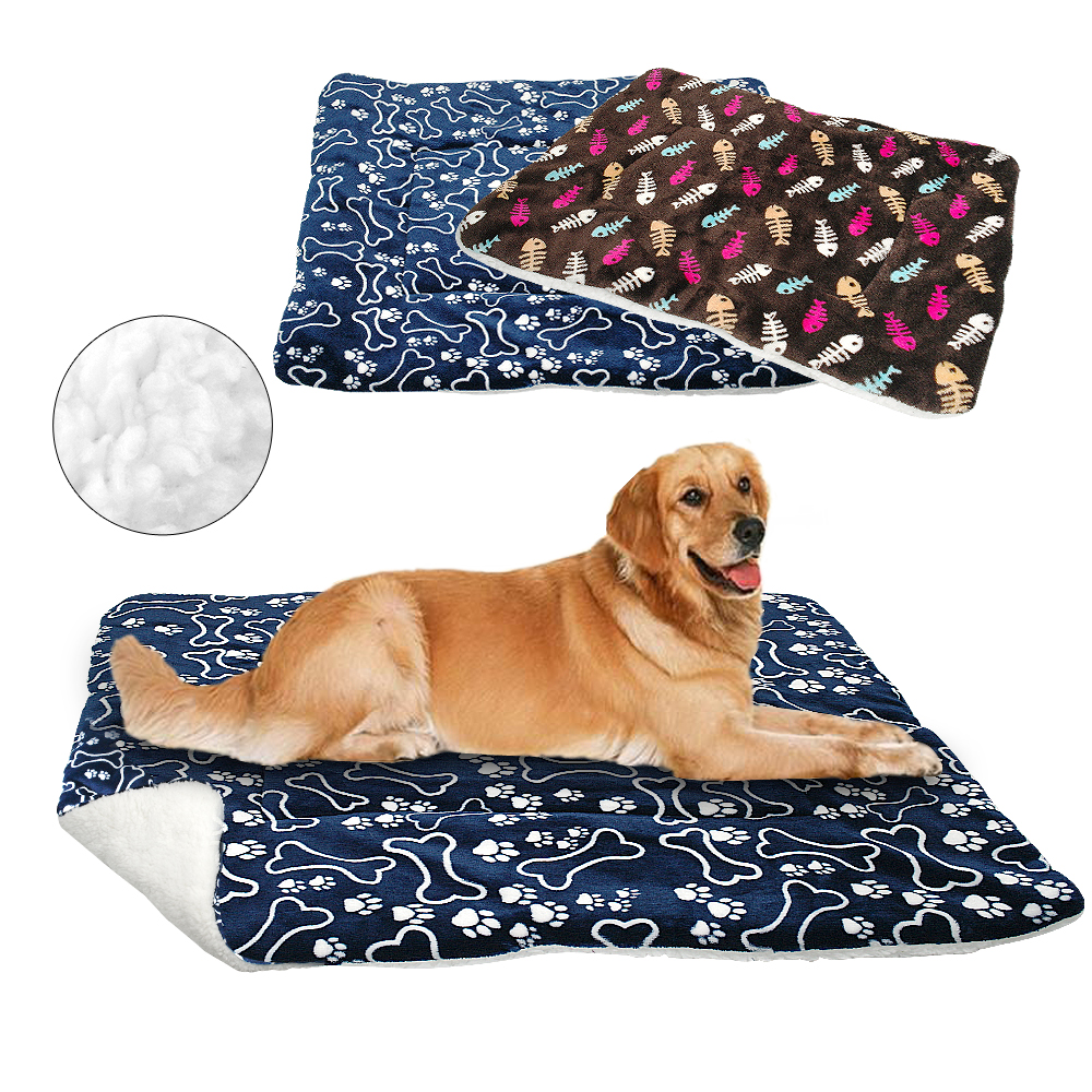 Winter Dogs Cat Bed Mat Pet Cushion Blanket Warm Paw Print