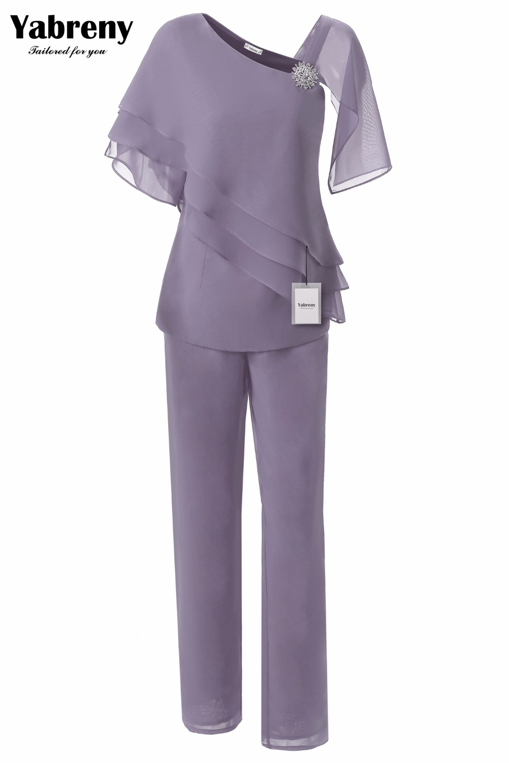 Fashion Chiffon Mother Of The Bride Pants Suit 2PC Outfit Gray