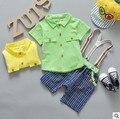 2016 новорожденных детские костюмы мальчиков и девочек костюмы футболки хлопок Футболка + полосатые брюки 2 компл. высокого качества бесплатная доставка