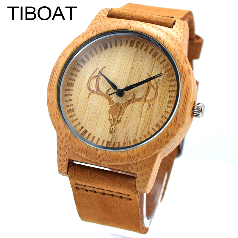 TIBOAT Handmade Mens Solid Bamboo Wood Quartz Watch Deer Head Pattern With Japanese Movement Real Leather